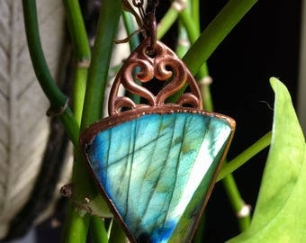 Labradorite shiny copper electroformed necklace