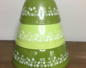 Vintage Pyrex Spring Blossom Green Mixing / Nesting Bowl Set 401 402 403