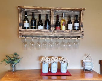 Reclaimed Wood Wine Rack holds up to 10 bottles and 8 glasses pallet wine rack