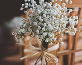 Pew Decor   Aisle Flower   Babys Breath Centerpieces   Real Baby's Breath Bouquet Collection   FRESH Bridal Bouquet   Wedding