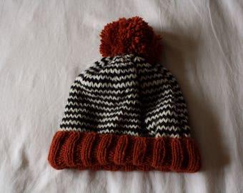 Stripy Knit Slouchy Beanie Hat in Orange, White and Black // Striped Winter Hat with Pom Pom