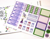 Planner Stickers - Weekly Stickers - Travelers Notebook Stickers - Day Designer - Functional Stickers - Violet Watercolor Stickers - B6
