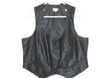 Black Vest  Women's Vest Metallic Vest Romantic West Gipsy Vest Folk Boho Top Formal Fitted Disco Party Wear Size large Shiny vest