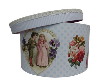 Round box with dots and vintage images