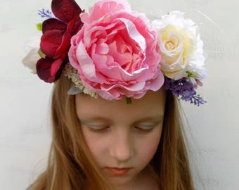 Peony bridal floral crown flower hair wreath boho wedding hair accessories silk flowers bridal crown vintage rose headpiece