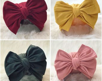 BIG BOW SOLIDS Fall Color solid big bow style stretch soft baby ruffle bow turban; baby hat; head wrap; big bow