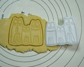 Cat Family  Cookie Cutter and Stamp