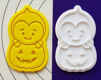 Cute Vampire on  the Pumpkin Cookie Cutter and Stamp