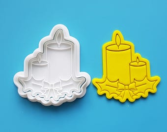 Two Candles Cookie Cutter and Stamp