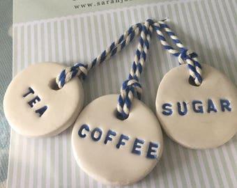 Tea Coffee Sugar Labels for Storage Jars