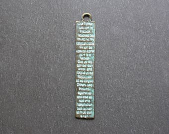 2 green gray rectangles of ethnic spirit pendants 57 x 10 mm
