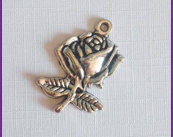 1 x Rose Charm, 25mm x 17mm, Antique Silver, Flower Charms, Beauty and The Beast Charms,