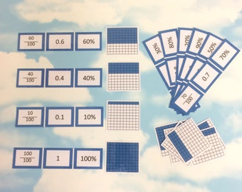 Fractions, decimals and percentages flash cards, KS2, Teaching resource, Educational cards, Matching cards, number cards, maths aid
