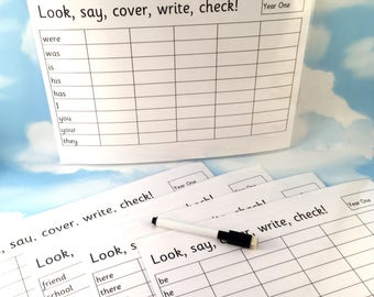 Year 1 common exception words spelling sheets, KS1, Learning resource, Phonics, Literacy, Homework aid, wipe clean, school