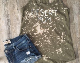 Distressed Desert Mom razor back tank top