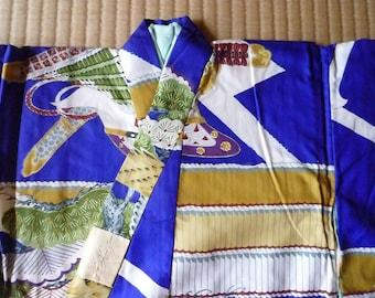 Authentic Japanese Vintage Boy's Small Kimono, Decorative Kimono with lining