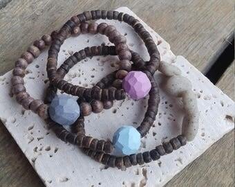 Oil infuser bracelet, layer bracelet, wooden bracelet, beaded bracelet