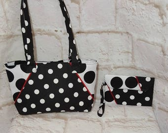 Black dot purse set - Handmade purse  set - Black white bag - Handbag - Black dot print - White dot print - Handmade - Double strap