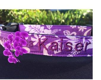 Embroidered Aloha Dog Collar, Hawaiian, Aloha, Custom, Personalized, Bright, Purple, Hibiscus