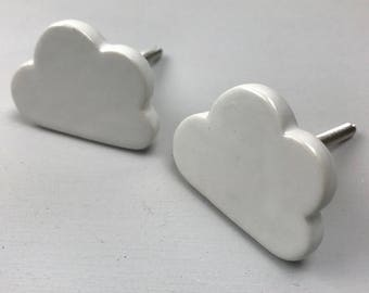Set of 2 Pretty White Ceramic CLOUD Knobs/Drawer Pulls