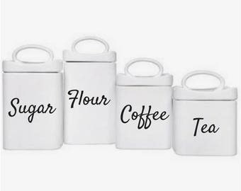 Set of 4 Kitchen Canister Vinyl Decals | Set of 3 Kitchen Canister Vinyl Decals | Flour Decal | Sugar Decal | Coffee Decal | Tea Decal