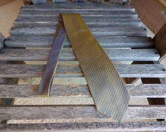 Vintage Valerio Garati Silk Necktie Gold and Navy Blue Metallic Hand Made Necktie 100% Silk Made in Korea
