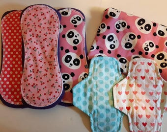 Set of starting 3 napkins and coasters to protect hygienic washable women's clothing