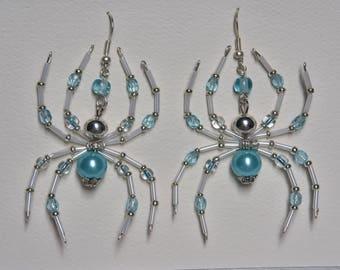 Blue & White Beaded Spider Earrings