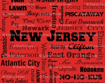 New Jersey cities fabric - Fat Quarter - red and black - gray and black