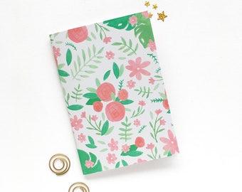 Floral Pocket Journal - A6 Lined Journal - Floral Illustrated Stationery - A6 Pocket Notebook - School Notebook - Back to School Stationery