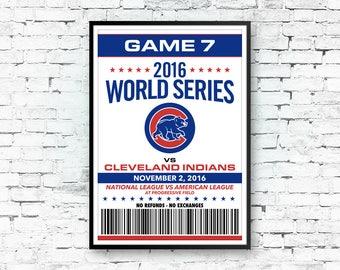 Chicago Cubs, World Series Art, Cubs Print Art, Chicago Cubs Poster, Chicago Art, 13x19 Print