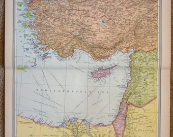 Antique Egypt Map Etsy - Map of egypt 1920