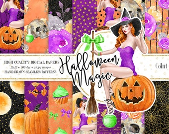 Halloween paper pack, Witch digital paper, Fashion paper pack, halloween seamless patterns, autumn digital paper, pumpkin, skull papers