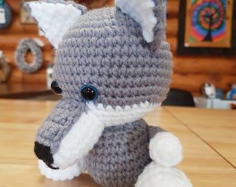 Amigurumi crochet stuffed wolf
