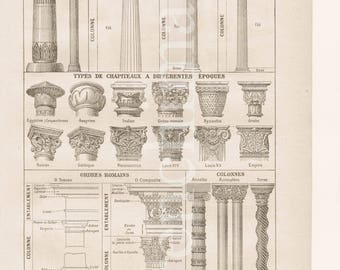 Architecture, Columns French vintage original print illustration plate , framable A4 drawings 1920's, capital, pedestal