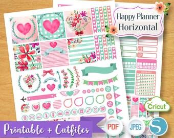 Sweet Pink Spring Floral Flower Valentine Weekly Planner Stickers Digital Planner Sticker Printable Horizontal Happy Planner Download Files