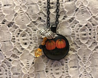 Double Pumpkin Charm Necklace/Stop Staring at My Pumpkins Pendant/Halloween Jewelry
