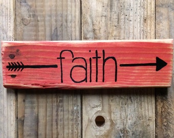 Red Arrow Faith Reclaimed Wood Sign