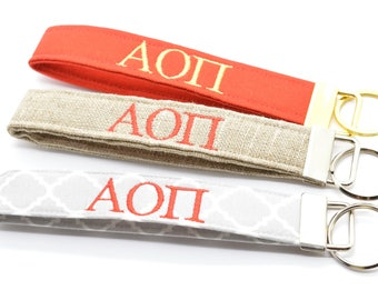 Officially Licensed Alpha Omicron Pi Sorority Keychain Key Chain Fob Wristlet Greek Life Personalized Embroidered Choose Color!