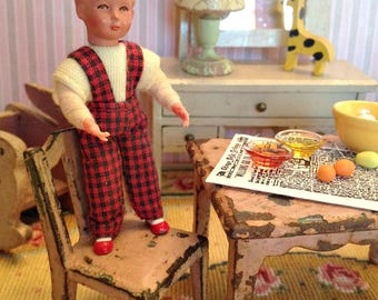 Vintage Miniature German Caco Doll Boy, Like New Condition, from 1960's in 1:12 Dollhouse Scale