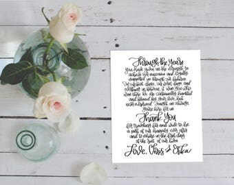Wedding thank you place card, thank you card, thank you print