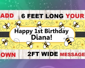 Bee Hive Birthday Banner, Photo Prop, First Birthday Banner, Bee Happy Birthday, Bee Hive Photo Prop,