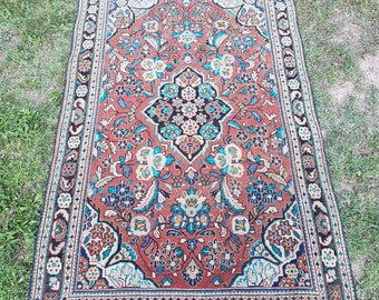 4' x 6'1'' Vintage Persian Rug, Low Pile Worn Persian Rug, Distressed Persian Rug, Lovely Color Rug, Old Rug, Rugs, Carpet