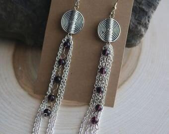 Silver Dangle Bohemian Earrings, Bohemian Jewelry