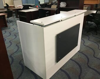 "DFS Designs Reception desk shell which fits a 15"" monitor - 60"" W by 30"" D by 44"" H White and Slate front A"