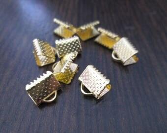 10 8 mm gold crimps / crimp ends