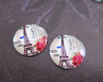 2 cabochons round glass 20 mm Eiffel Tower # 2
