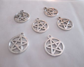 5 charms metal pentacle silver 20 x 17 mm