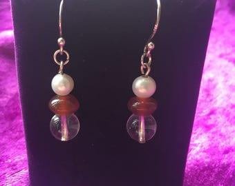 Clear Quartz, Carnelian & pearl earrings