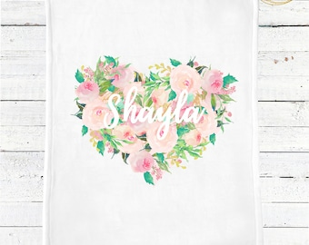 Personalized Baby Blanket Girl / Heart Baby Blanket / Floral Baby Blanket / Name Baby Blanket / Custom Baby Blanket / Calendar Photo Prop